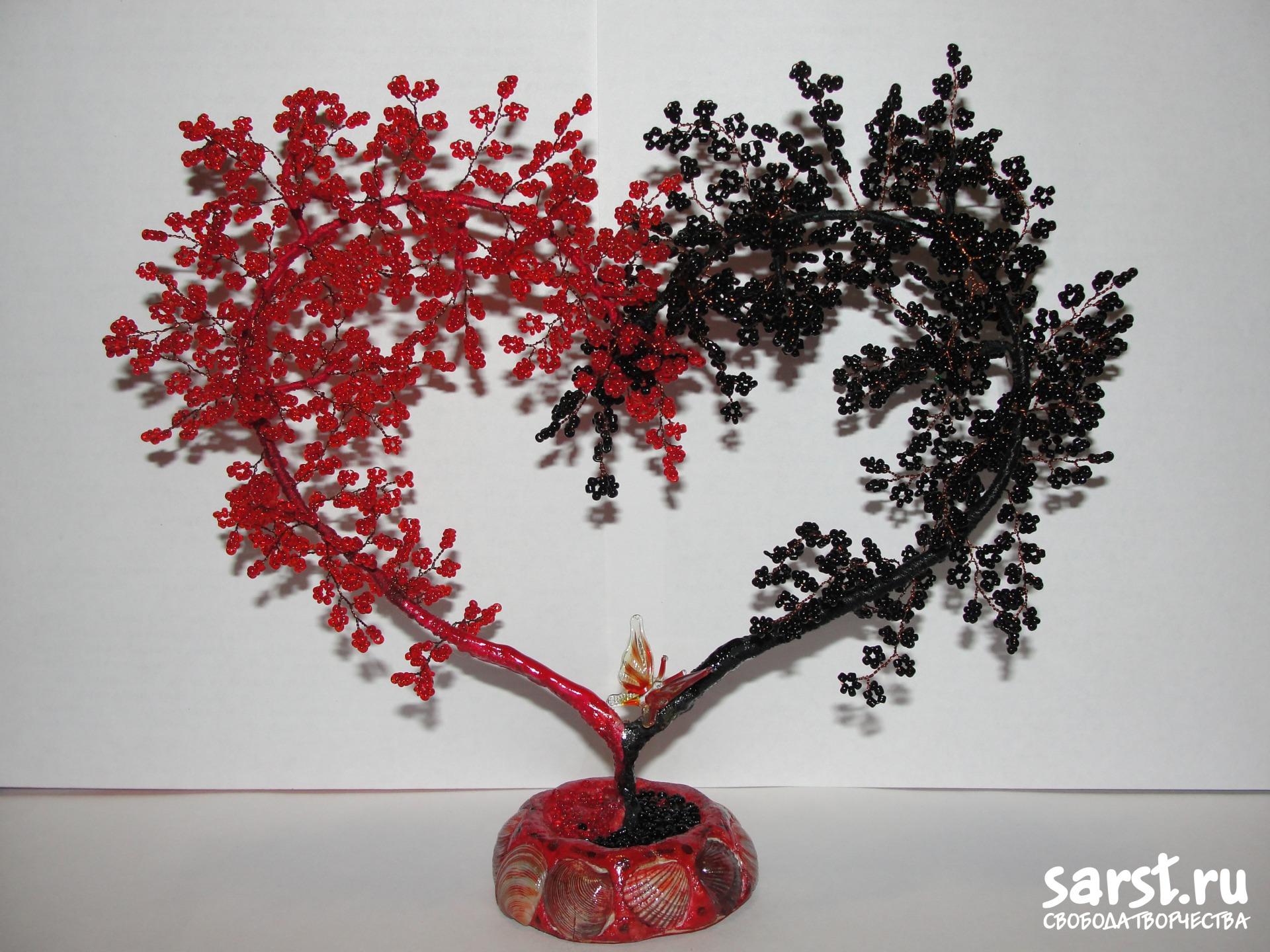 Сердце дерево в форме сердца из бисера своими руками